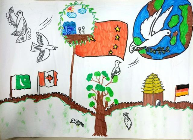 我校学生参加2017年全国少年儿童世界和平海报作品征集活动,他们眼