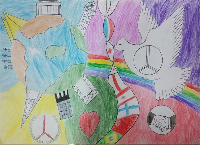 我校学生参加2017年全国少年儿童世界和平海报作品征集活动,他们